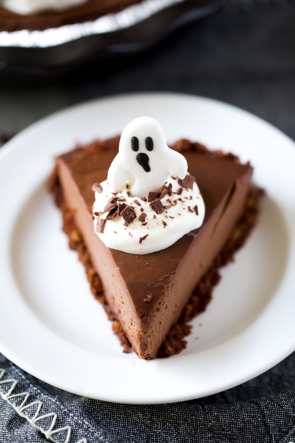 Halloween pie with ghost icing decoration