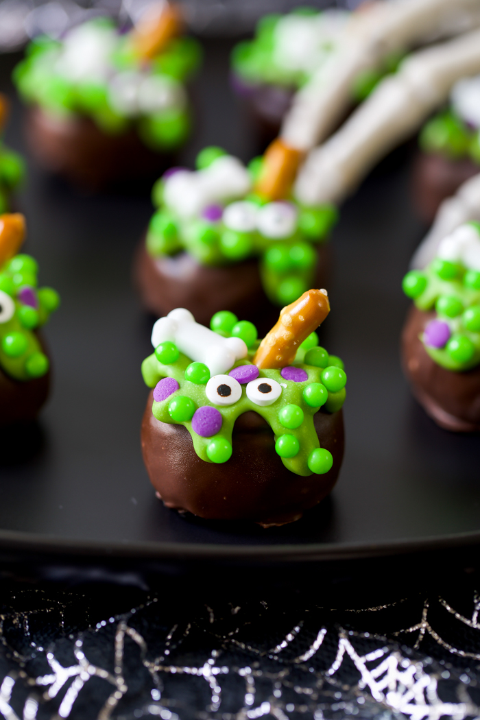 Halloween oreo ball recipe shaped like a cauldron