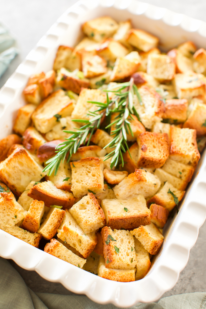classic stuffing recipe made with gluten-free bread and fresh herbs