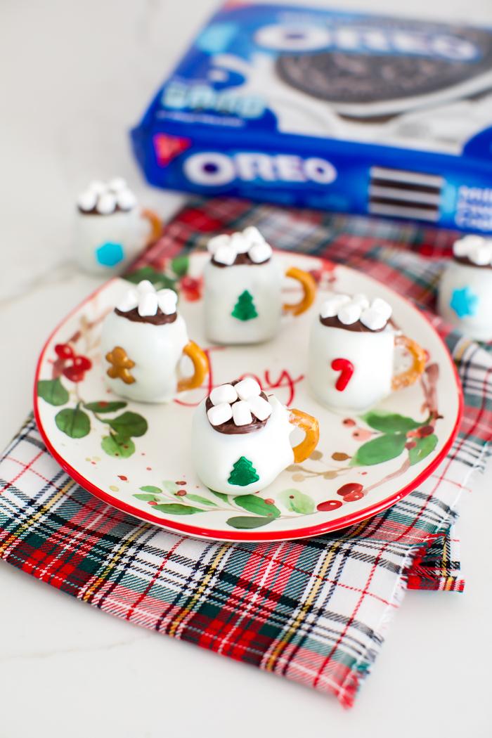 OREO ball hot chocolate mug topped with chocolate and mini marshmallows