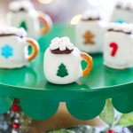 miniature hot cocoa mug OREO ball decorated with sprinkles and marshmallows