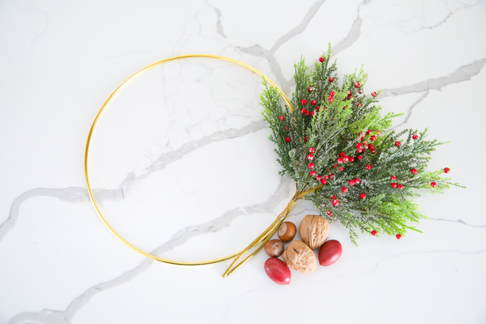 miniature hoop wreath with greenery and berries tutorial