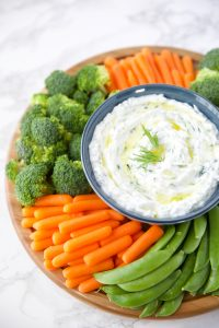 tzatziki recipe made with dill and served with vegetables