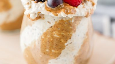 almond butter overnight oats mason jar with berries