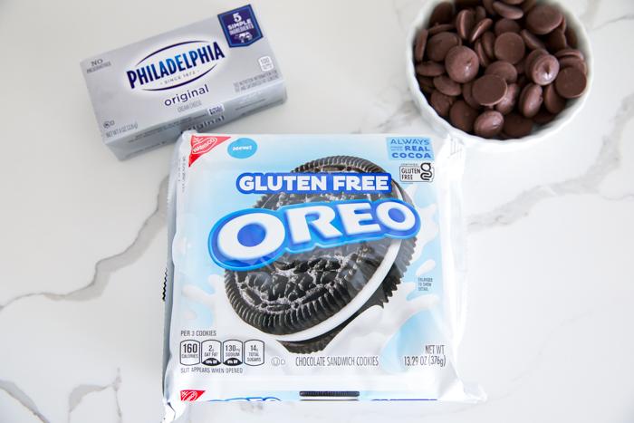 gluten free oreo cookies, cream cheese, and melting chocolate