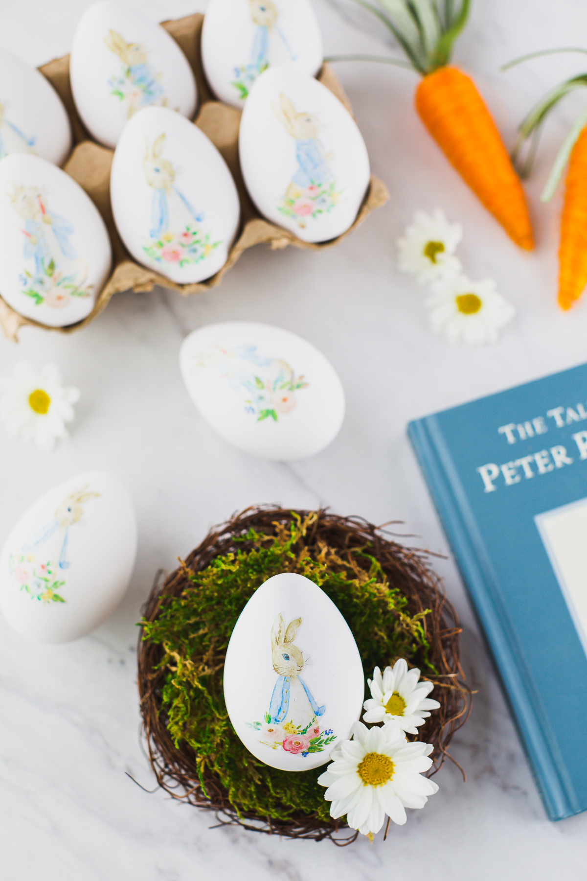 white craft eggs with watercolor bunny decal