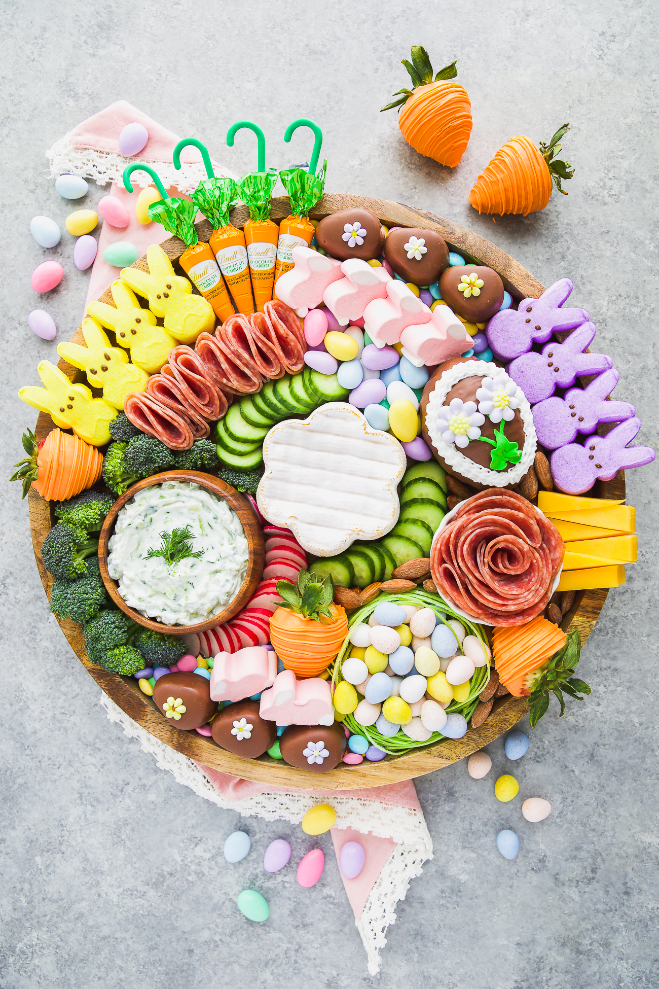 sweet and savory Spring themed charcuterie board
