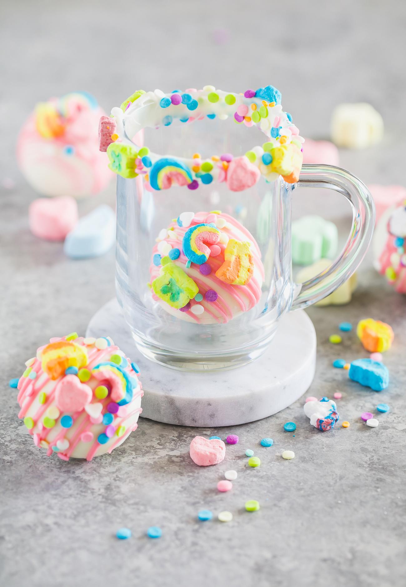 clear mug with rainbow lucky charms chocolate bombs