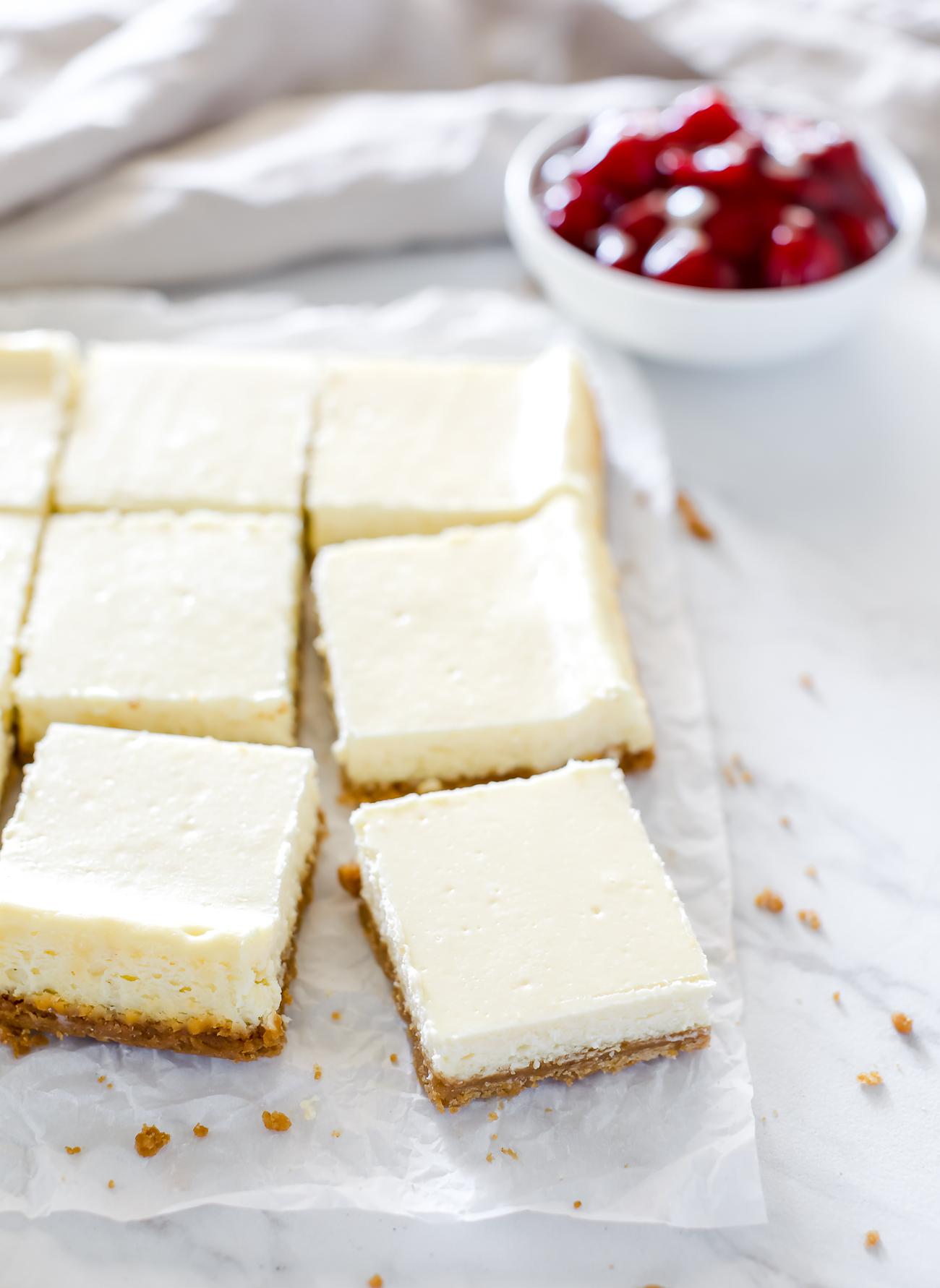 quick and easy gluten free cheesecake bars recipe