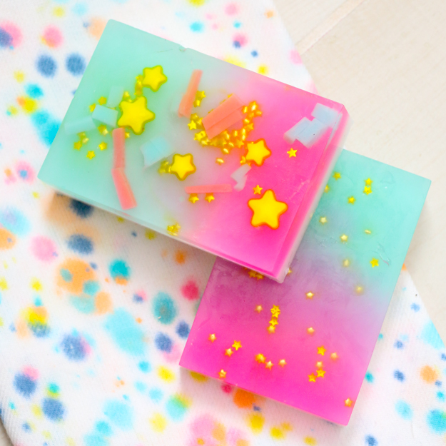 colorful soap bars with gold stars