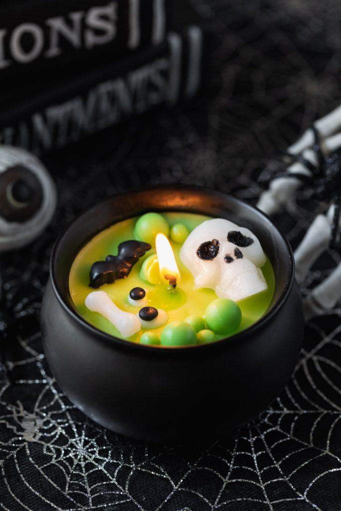 ceramic cauldron candle Halloween decoration