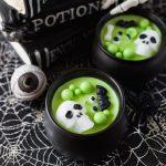 black and green cauldron Halloween candle